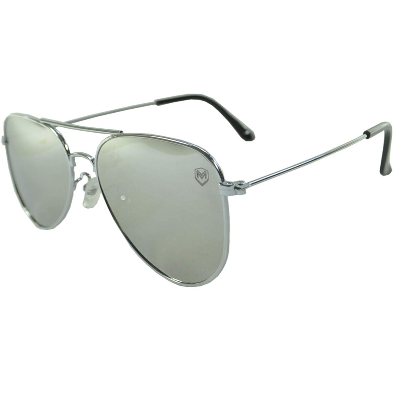 Óculos De Sol Mackage Unissex Metal Aviador Clássico Flat Espelhado - Prata