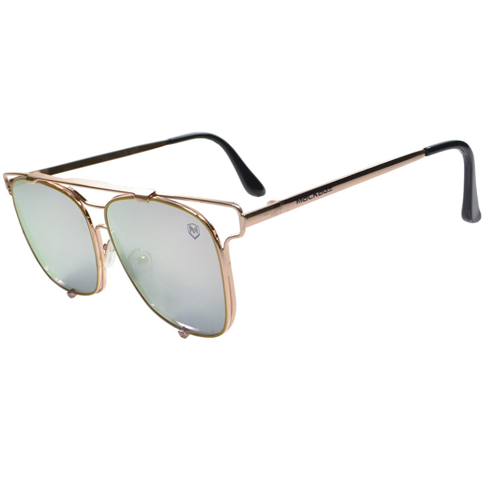 Óculos De Sol Mackage Unissex Metal Geometrico - Dourado Rosa Espelhado