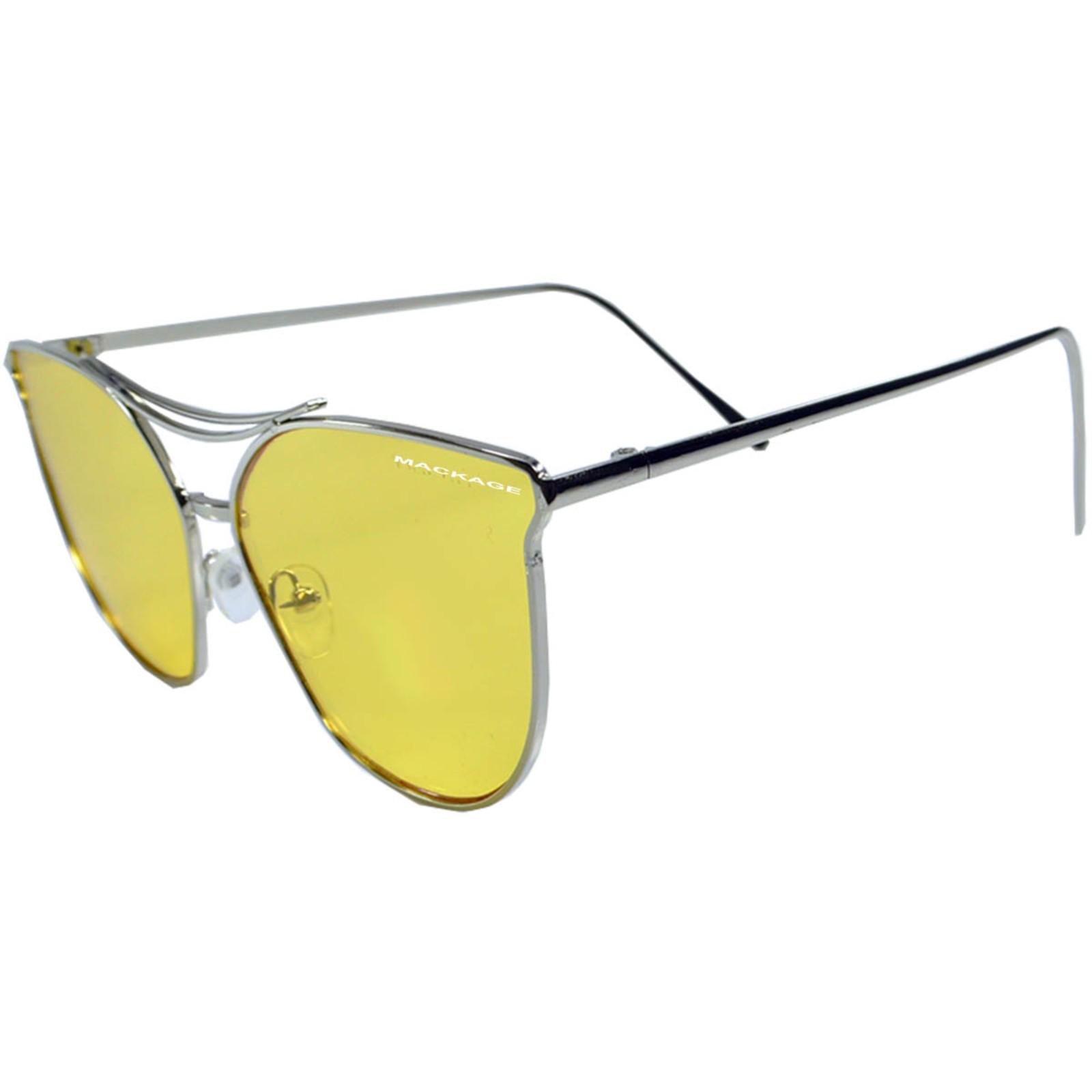 Óculos de Sol Mackage Unissex Metal Geométrico Gateado - Prata
