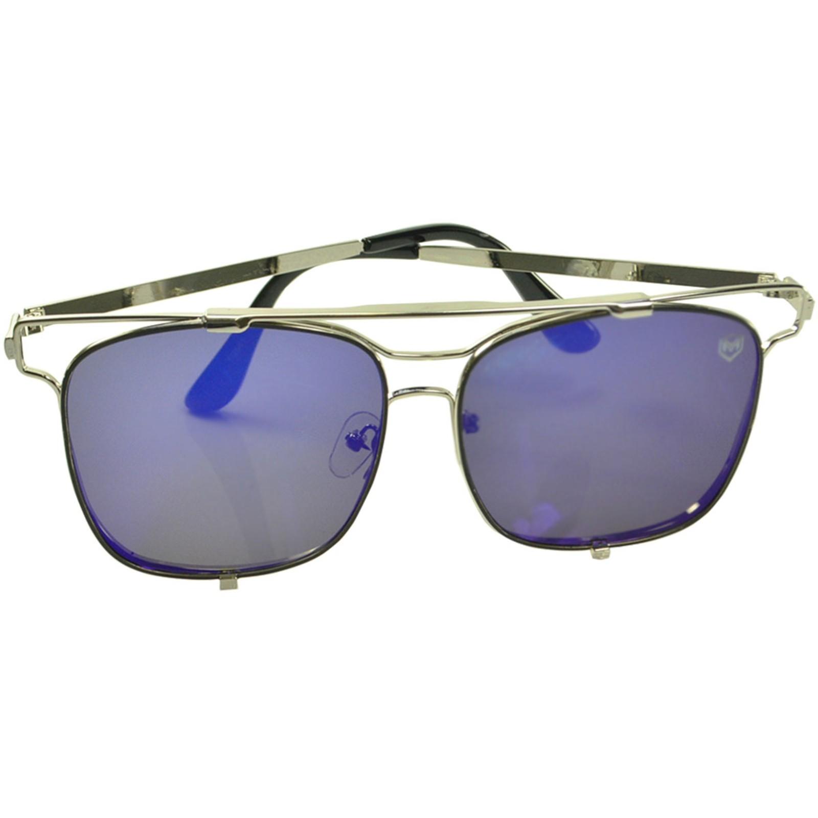 Óculos De Sol Mackage Unissex Metal Geometrico - Prata/Azul Espelhado