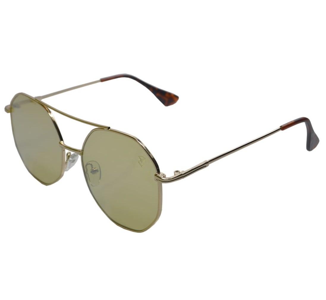 Óculos De Sol Mackage Unissex Metal Hexagonal - Dourado/Amarelo