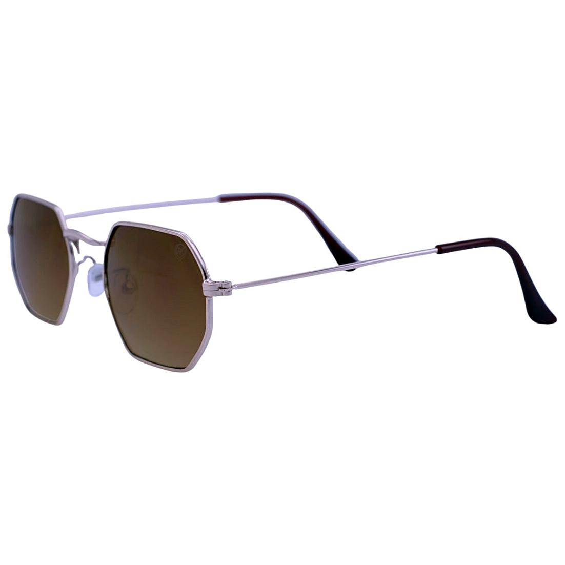 Óculos De Sol Mackage Unissex Metal Hexagonal Mini - Dourado