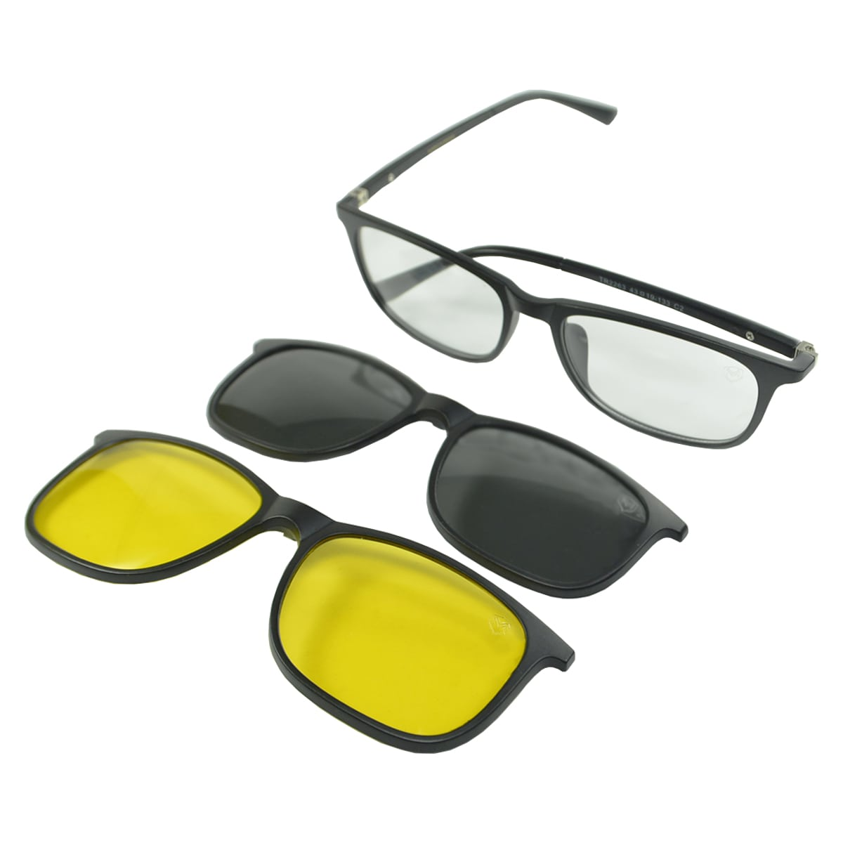 Óculos de Sol Clip On Polarizado Mackage MK2215C2 Preto Fosco