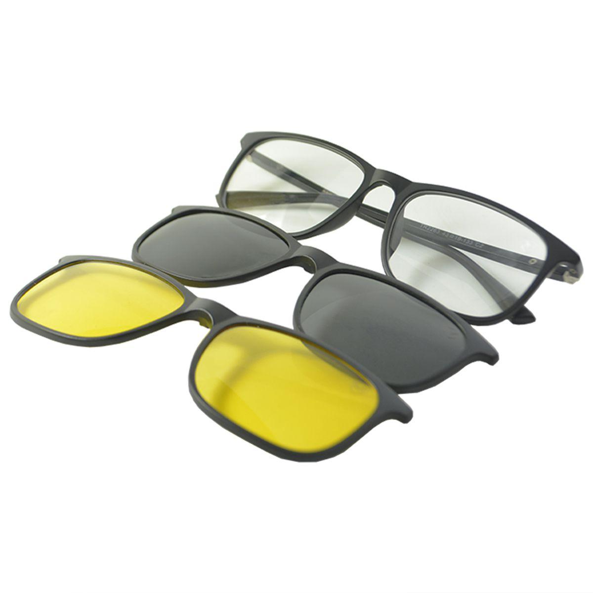 Óculos de Sol Clip On Polarizado Mackage MK2263C2 Preto Fosco