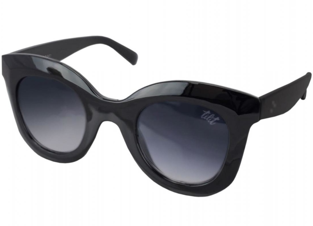 Óculos De Sol Tilit Acetato Feminino Oversize Redondo RetrÔ - Preto
