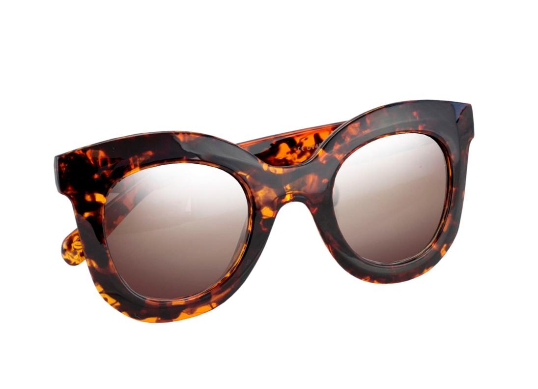 Óculos De Sol Tilit Acetato Feminino Oversize Redondo RetrÔ - Preto/Tarta