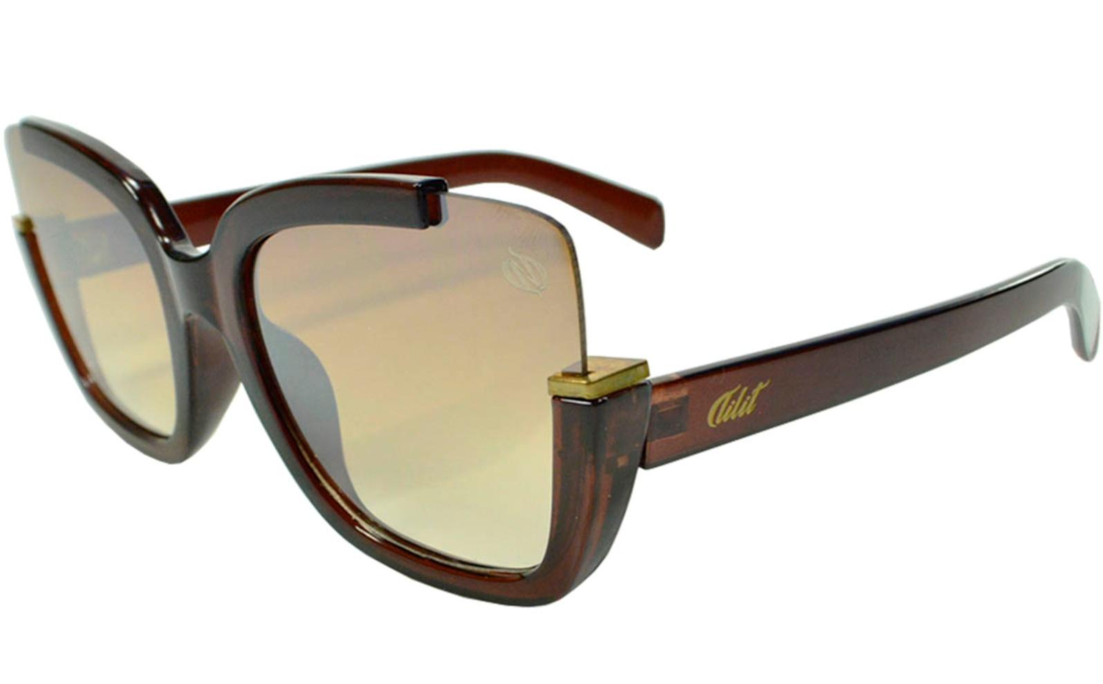 Óculos De Sol Tilit Feminino Acetato Gateado Oversize - Marrom