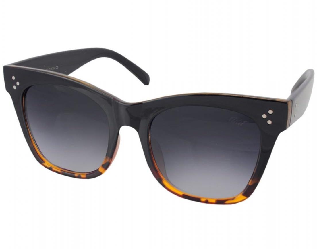 Óculos De Sol Tilit Feminino Acetato Oversize Quadrado RetrÔ - Preto / Tarta
