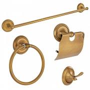 Kit de Acessórios Retrô para Banheiro Goya Dourado