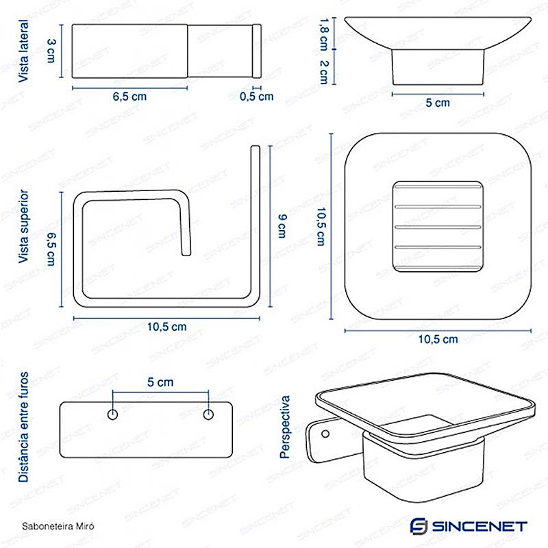 Kit de Acessórios para Box Miró Escovado