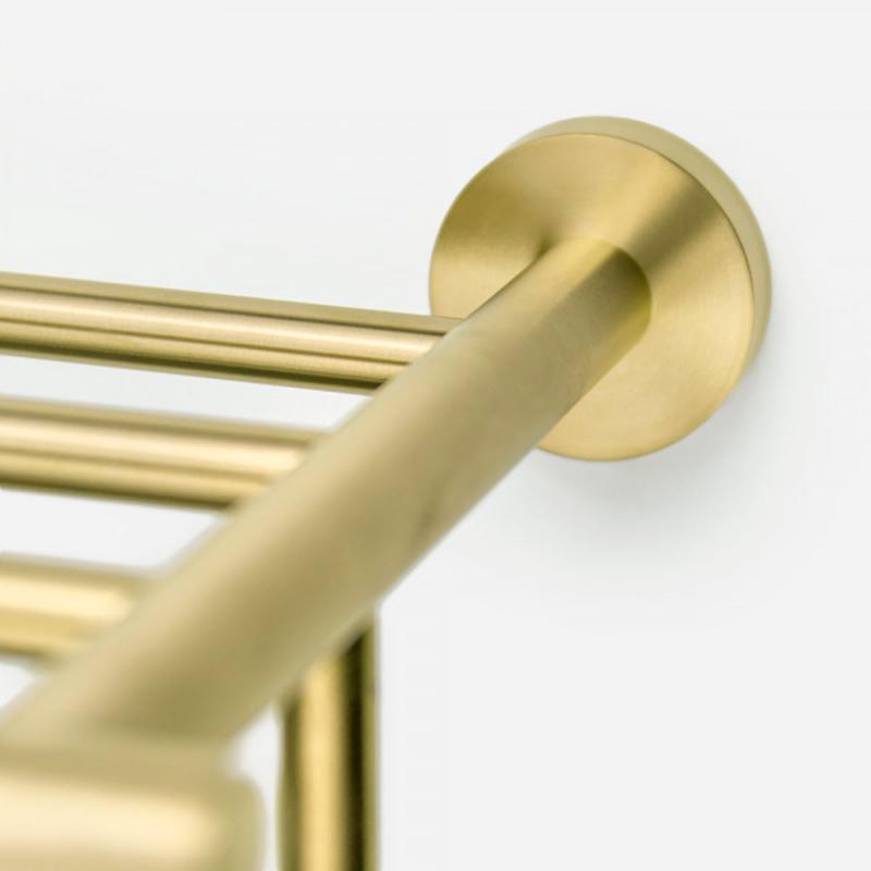 Porta Toalhas de Hotel com Prateleira Inox Tarsila Dourado