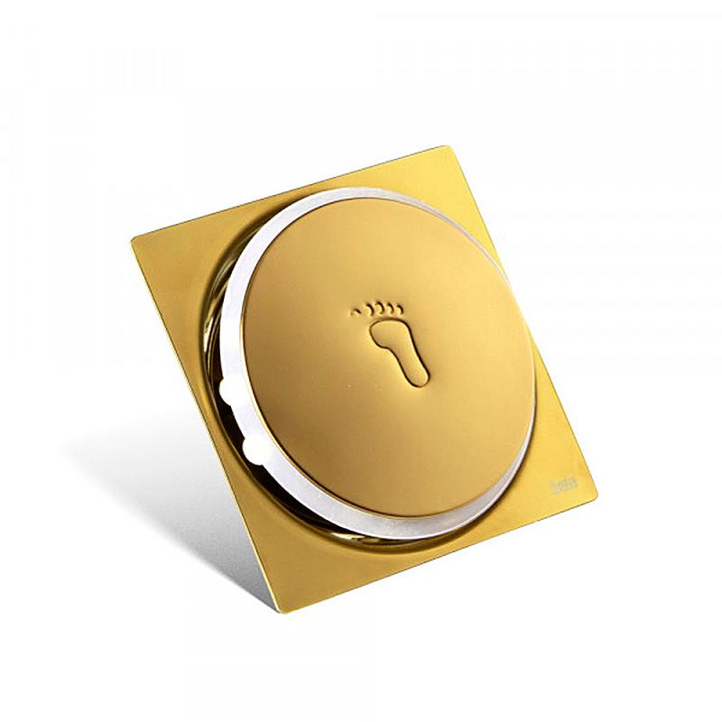 Ralo Click para Banheiro 10x10cm Inox Dourado