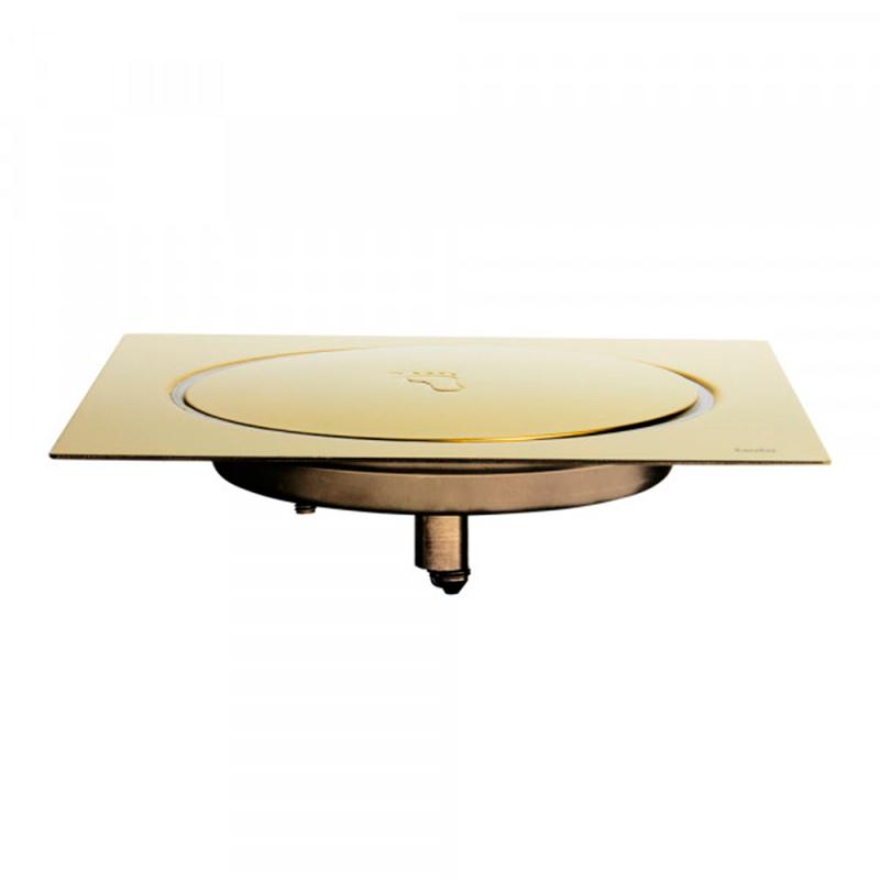 Ralo Click para Banheiro 15x15cm Inox Dourado