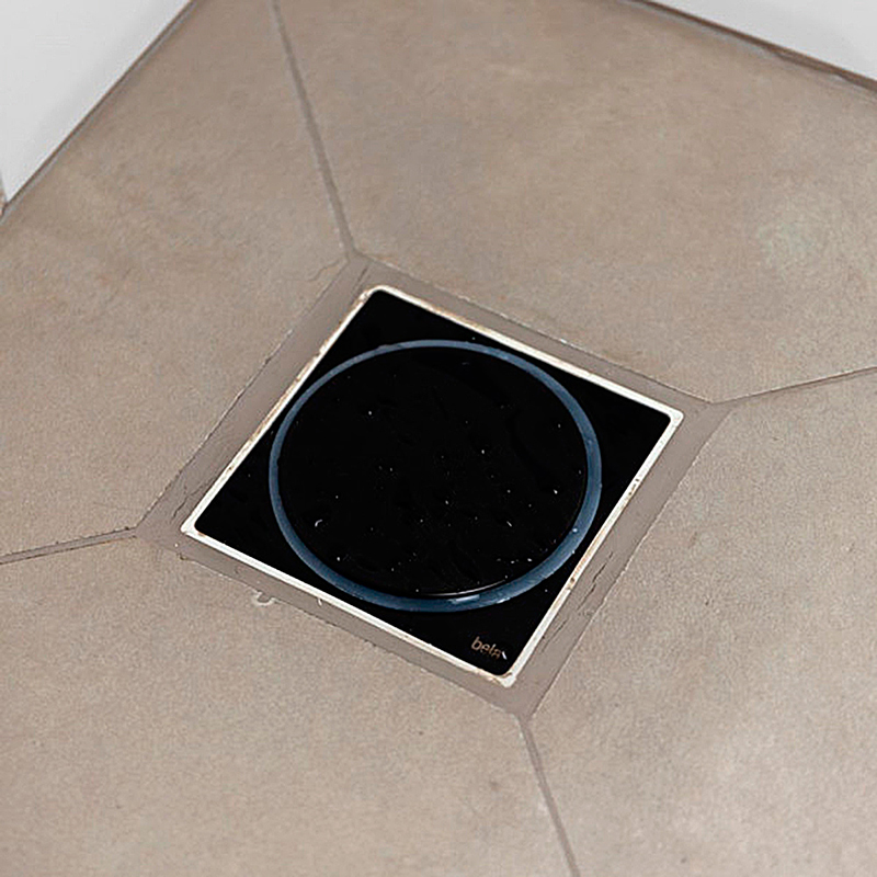 Ralo Click para Banheiro 10x10cm Inox Preto