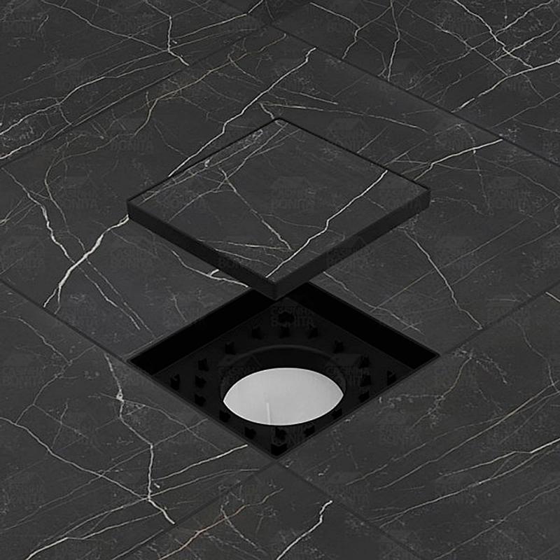 Ralo Oculto Invisível com Encaixe Universal Preto