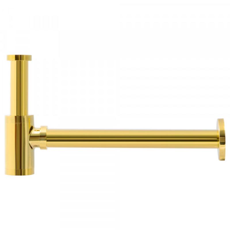 Sifão Metálico com Copo para Banheiro Line Dourado