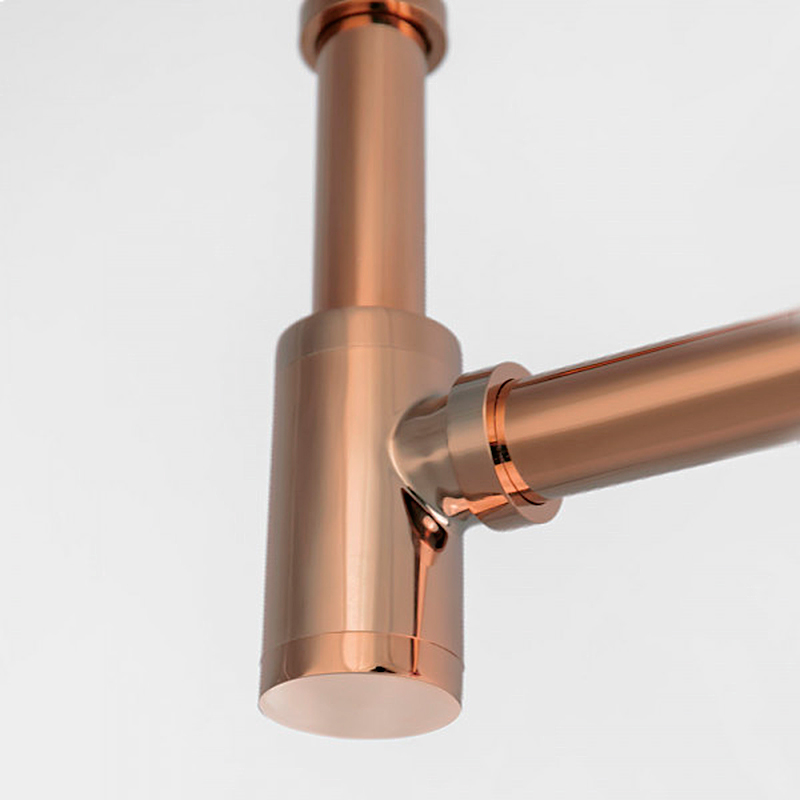 Sifão Metálico com Copo para Banheiro Line Rosé Gold