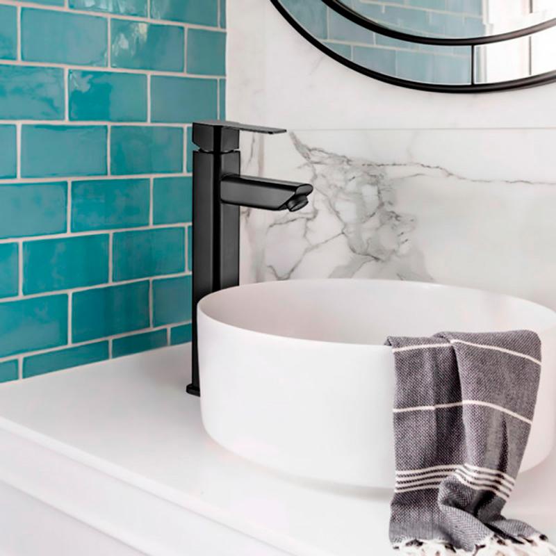 Torneira Monocomando Alta para Banheiro Inox Adda Preta