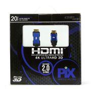Cabo HDMI 20 metros 4k 3d Pix