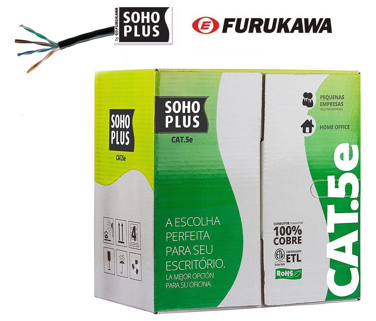 Cabo de Rede Furukawa Cat5e Soho Plus Preto 100 metros