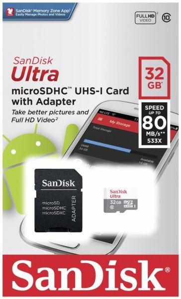 Cartão de Memória 32 GB Sandisk Ultra Micro SD Classe 10 80M