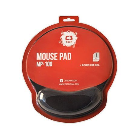 Mouse Pad C3Tech Apoio Gel MP-100 Preto