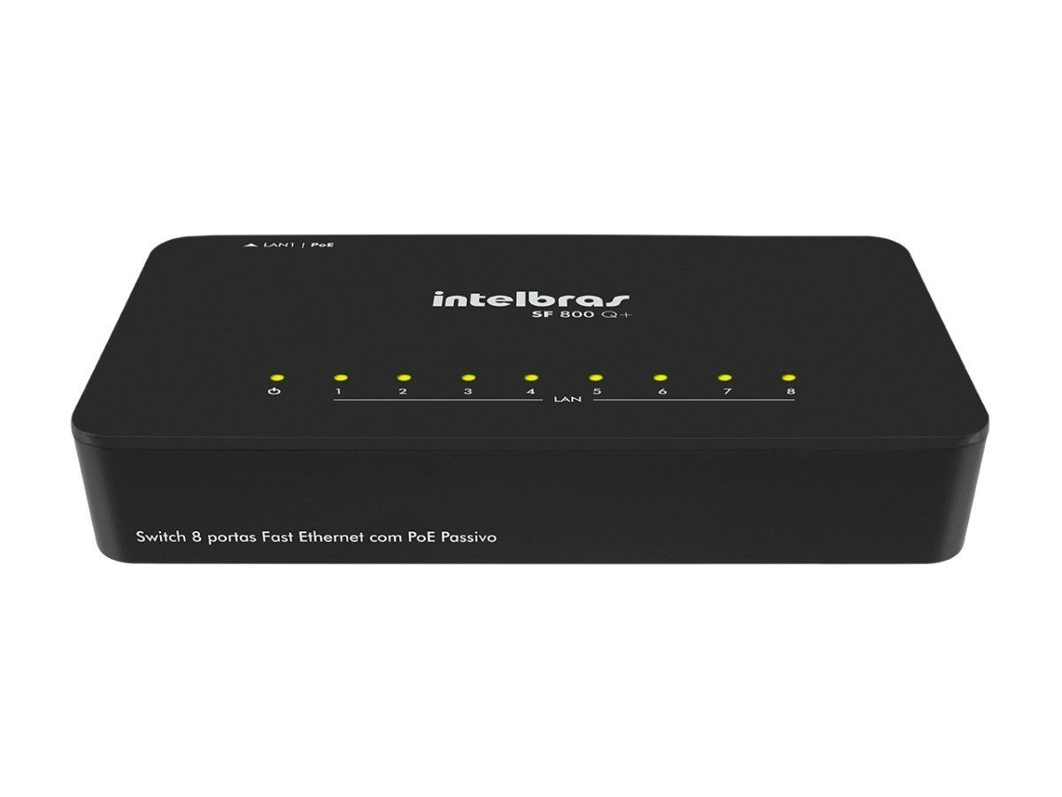 Switch 08 Portas Intelbras 10/100 SF 800 Q+ Lan1 PoE