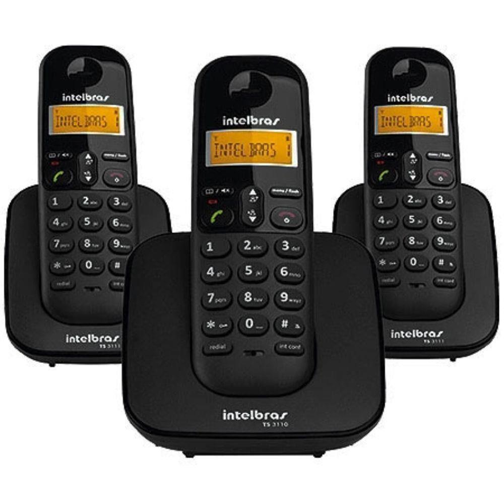 Telefone Sem Fio Intelbras TS 3113 + 2 Ramal Preto