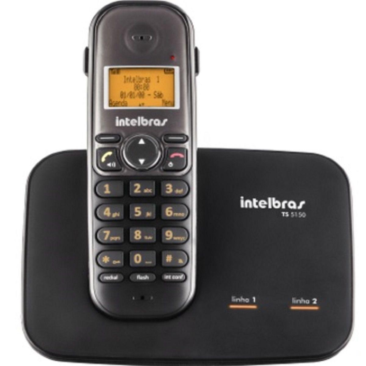 Telefone Sem Fio Intelbras TS 5150 Preto 2 Linhas Viva Voz