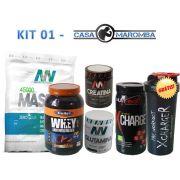KIT 01 Casa Maromba - 01 massa 3k + 01 whey Health + 01 gluta 300g + 01 Crea 300g + 01 X-Charge + 01 Coquet. Gratis