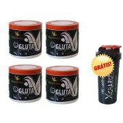 Kit 4x Glutamina 150g + coqueteleira