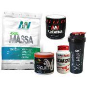 Kit Crescer - Massa + Bcaa + Creatina + Glutamina + Coqueteleira