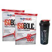 Kit Super Proteico ISOLADO - 02 Whey protein Isobolic 1800kg + coqueteleira