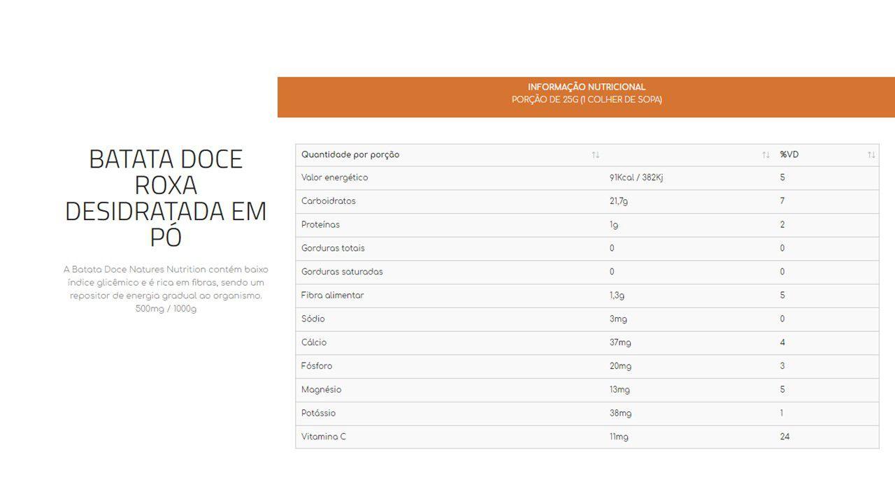 Batata Doce em Pó 1k -  Natures Nutrition