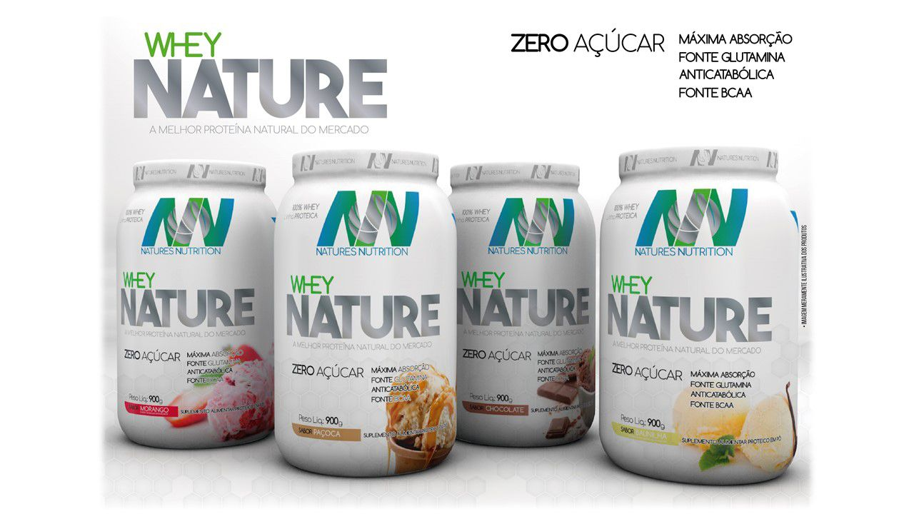 Combo 4X Whey Nature 900g Sabores - Natures Nutrition