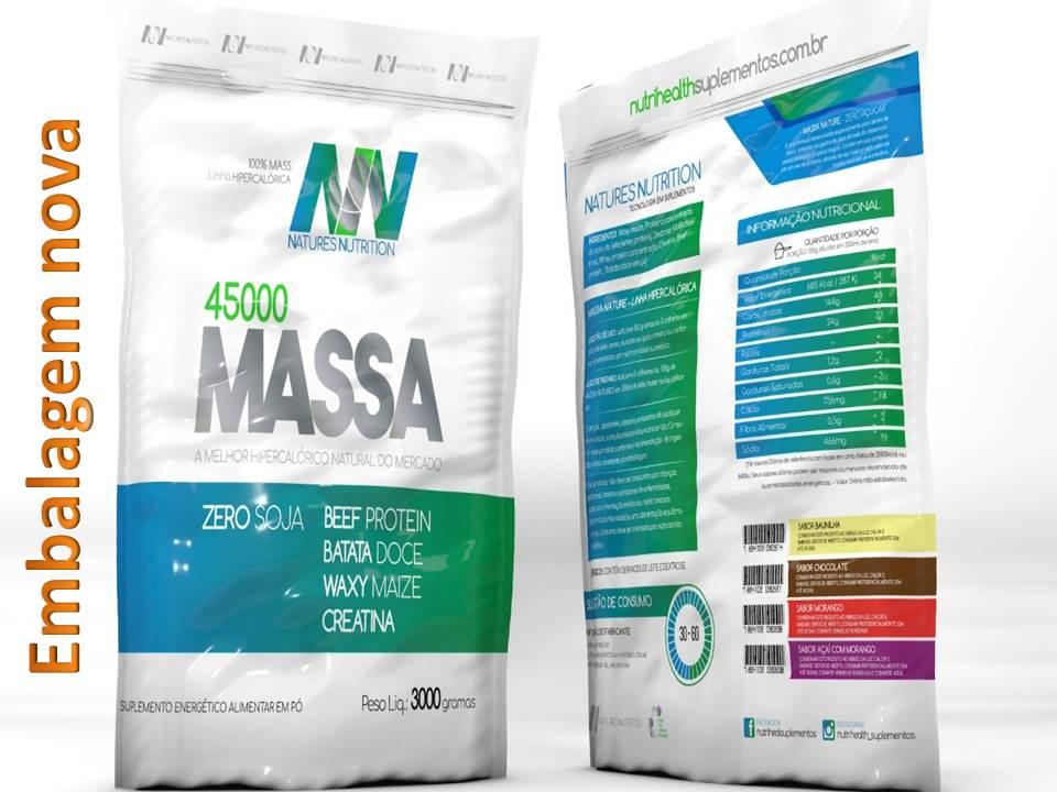Hipercalórico Massa 45000 - 3Kg Natures Nutrition - Baunilha