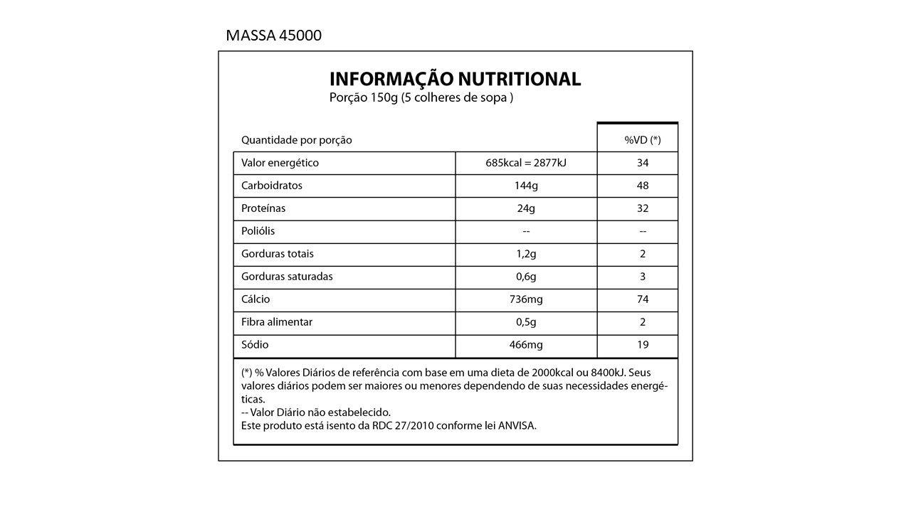 Hipercalórico Massa 45000 3Kg Natures Nutrition - Morango