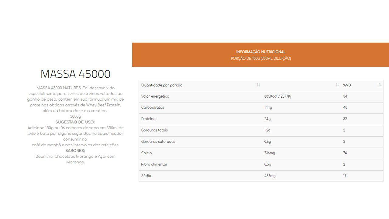 Hipercalórico Massa 45000 3Kg Natures Nutrition - Morango com açai