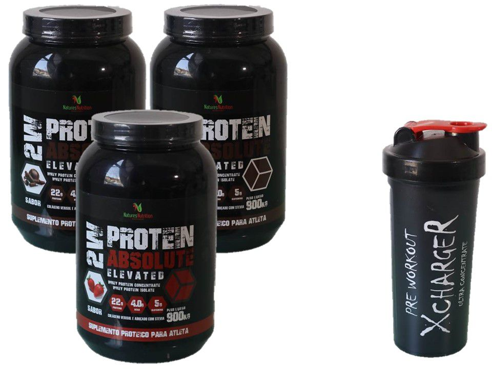 Kit 3x Whey Protein 2W Absolut 900g + coqueteleira
