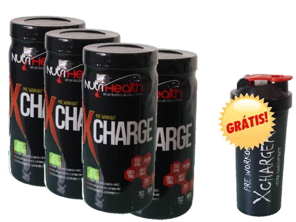 Kit 4x Pré treino Monstrão - Xcharge Nutrihealth Suplementos