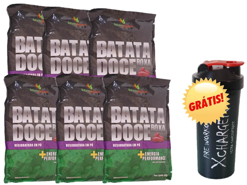 Kit 6x Batata Doce em pó 500g + coqueteleira