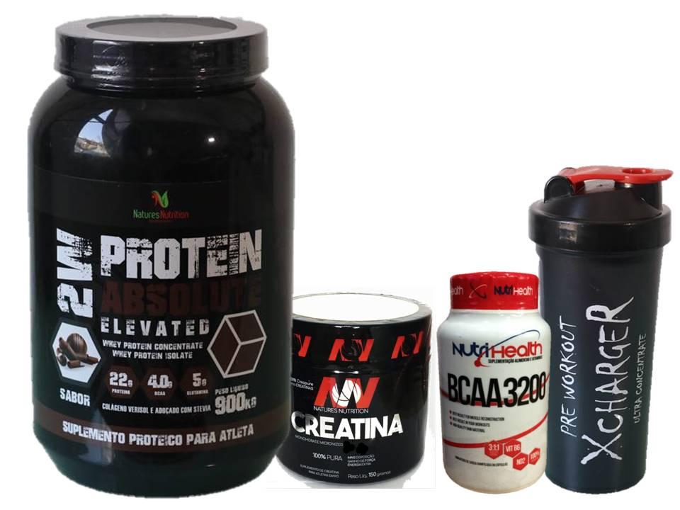 Kit Absolut Crescimento Muscular - Whey Protein 900g + Creatina 150g + Bcaa caps 120 caps + coqueteleira