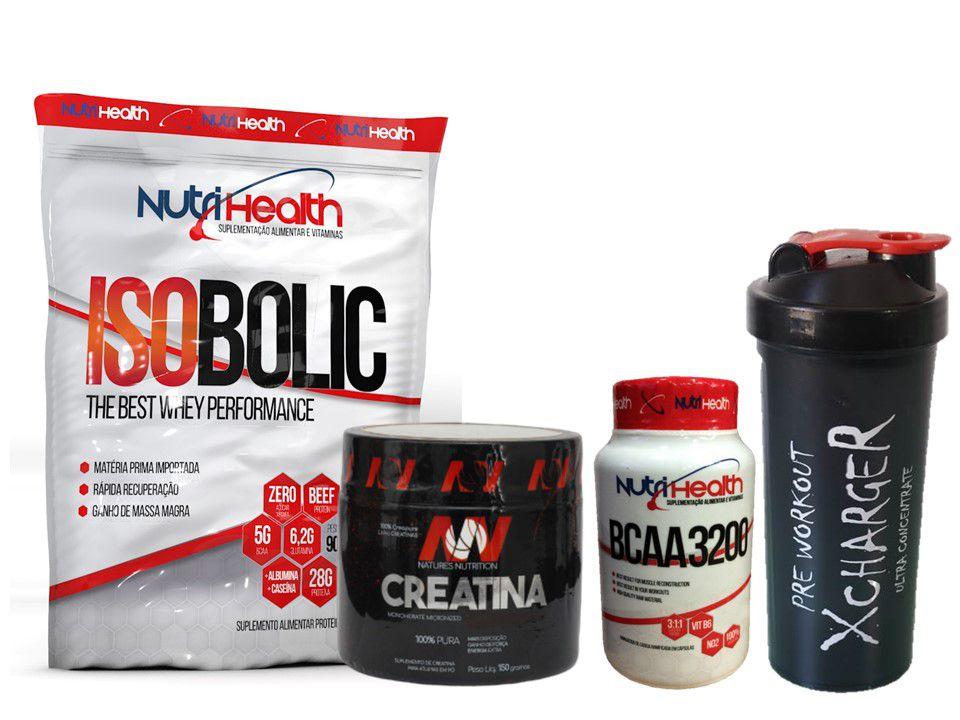 Kit Isobolic Crescimento muscular - Whey protein Isolado 900g + creatina 150g + bcaa 120 caps +  coqueteleira