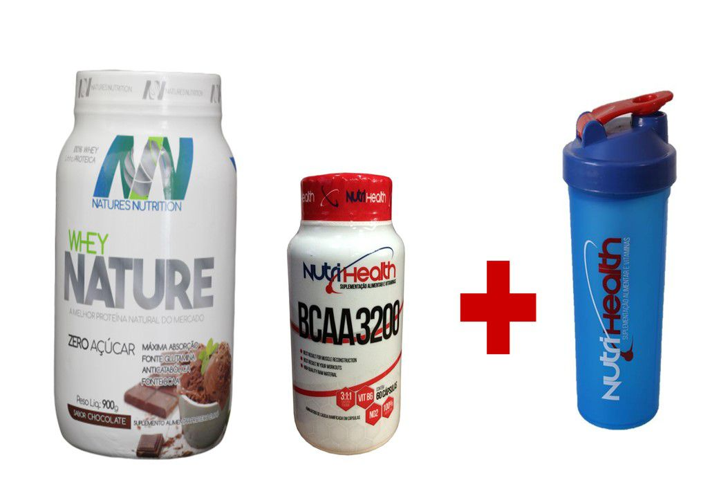 KIT Whey Nature 900g + Bcaa 60 caps + coqueteleira