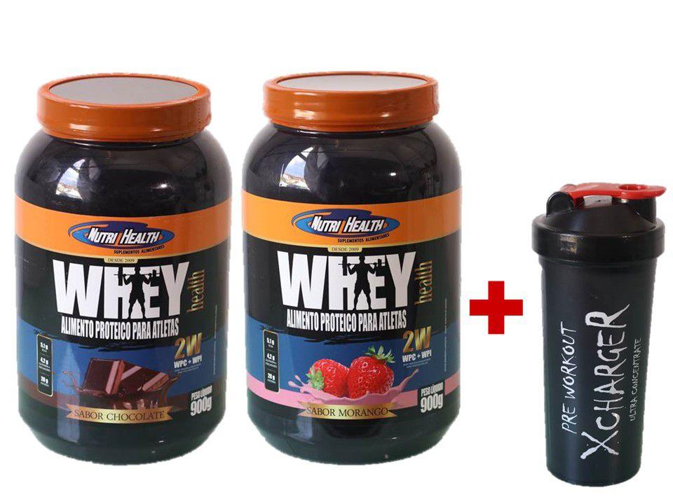 Kit 2x Whey Protein 2W Health 900g + coqueteleira