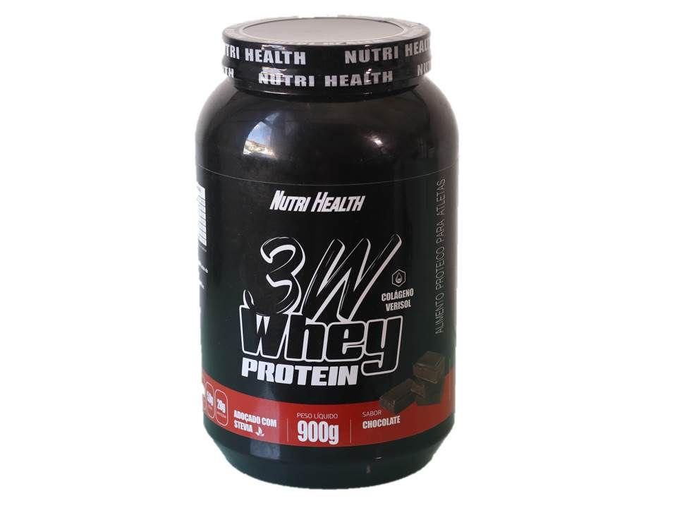 Super Kit 3W Ganho de Massa - Whey Protein 3w 900g  + creatina 150g + bcaa 120caps  + coqueteleira