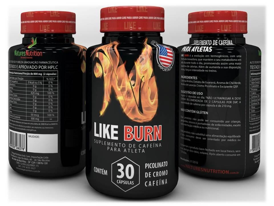 Termogênico Like Burn  30 caps - Cafeína com Picolinato de Cromo - Natures Nutrition