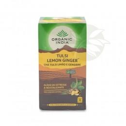 Chá Tulsi LEMON GINGER Limão e Gengibre (25 sachês) - Organic India