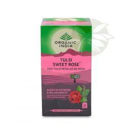 Chá Tulsi SWEET ROSE Pétalas de Rosa (25 sachês) - Organic India