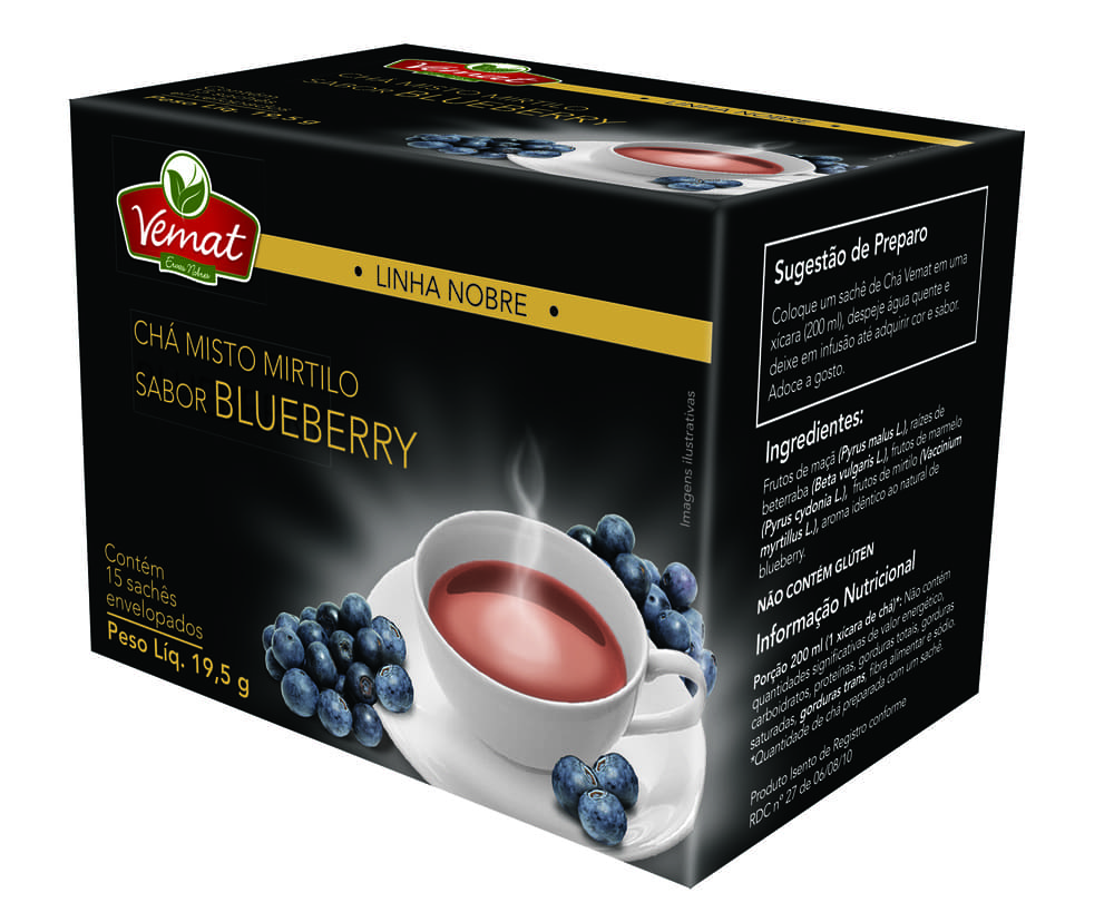 Chá Mirtilo sabor Blueberry (15 sachês) - Vemat